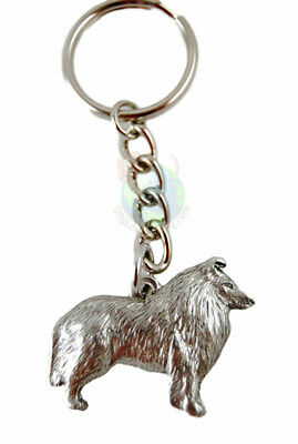 Collie Keychain Fine Pewter Silver Key Chain Ring