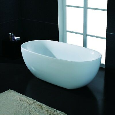 "67"" Modern Bathroom White Acrylic FreeStanding Luxury Oval Shower Bathtub"