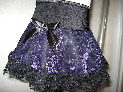 New Baby Girls Black Purple Metallic Floral Frilly Skirt Goth Rock Gift Party