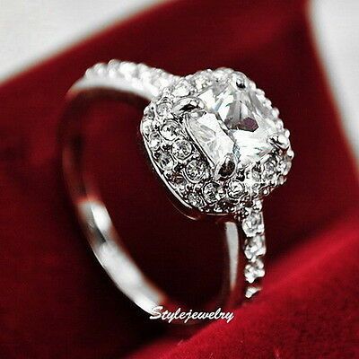 18k White Gold Plated Made with Swarovski Crystal Women Engagement Ring R114