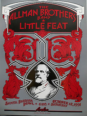 Allman Brothers Featuring Little Feat Original Concert Poster Santa Barbara Bowl