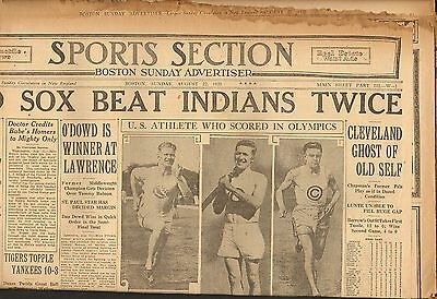 AUG 22 1920  - vintage SPORTS NEWSPAPER section - RED SOX beat INDIANS