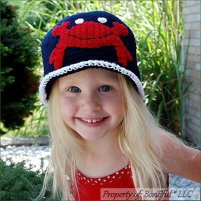 BonEful RTS NEW Boutique Crochet Red White Blue Crab Beach Boy Girl Hat American
