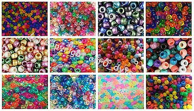 500 or 1000 Pony Beads Mixed 9x6mm Barrel Shape For Jewellery Making