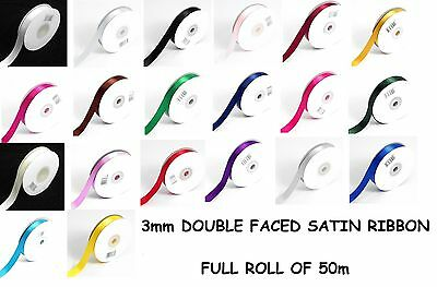 "3mm (1/8"") x 50m SATIN RIBBON Double Sided Faced - Full Roll - BUY 3 FOR 2"