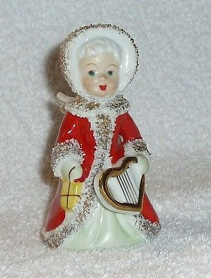 Vintage Napco Christmas Angel Bell Spaghetti Heart Red Lefton