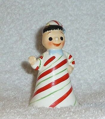 Vintage Christmas Candy Cane Lefton 1950s Pixie Bell Figurine Doll Ornament Boy
