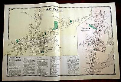 1870 Map SPENCER & OXFORD,MA Massachusetts 2-Page BEERS Antique