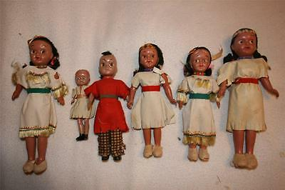 Vintage Lot Of 6 Celluloid Indian Character Dolls Boys And Girls Assorted Lot