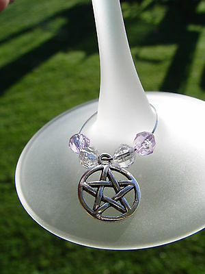 GIFT BAGGED SILVER WINE GLASS BEADED PENTACLE JEWELLERY Wicca Pagan Witch Goth