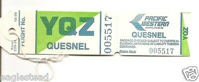 Baggage Tag - Pacific Western - PWA - YQZ - Quesnel - 1979 Green Unused  (BT340)