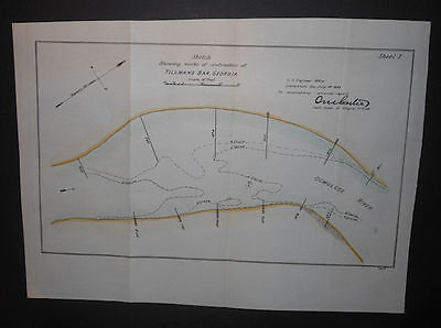 Tillmans Bar Georgia Ocmulgee River 1893 Map Hand Colored