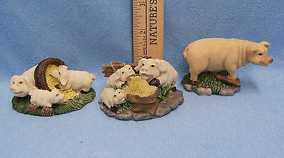 Lot of 3 Pig Figurines  Made of Resin Set In A Country Farm Scene