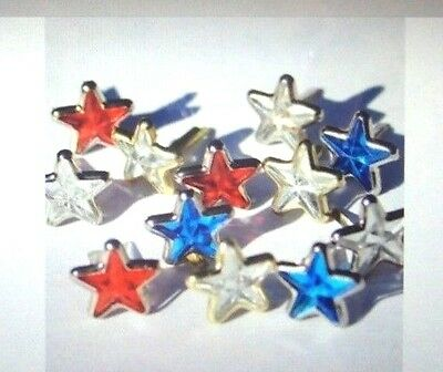 Jeweled Star Red White Blue Brads Patriotic, NEW