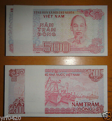 Bundle of 100 Pieces Vietnam Paper Money 500 Dong UNC