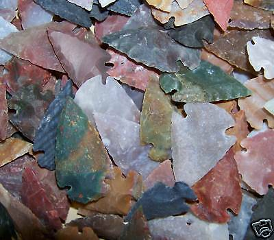 """10 HAND KNAPPED STONE AGATE ARROWHEAD FOR JEWELRY 1 1/4"""" to 2"""" SIZE  #2"""