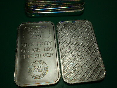1 OZ / OZT Troy Ounce .999 Silver Bar Ingot Golden State Mint USA in Plastic