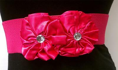 women pink waist fashion elastic belt with two big elegant flowers sizes s m l