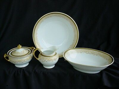 4 Serving Pieces Royal Bayreuth Chantilly Pattern Greek Key Border German