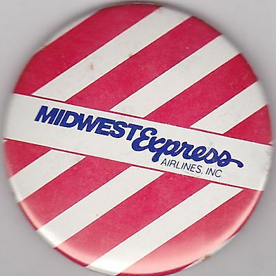 """VINTAGE 2 1/4"""" PINBACK #26-092 - AIRLINES - AVIATION - MIDWEST EXPRESS - STRIPED"""