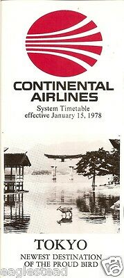 Airline Timetable - Continental - 15/01/78 - Now to Tokyo Japan