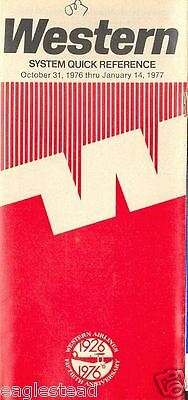Airline Timetable - Western - 31/10/76 - 50th Anniversary