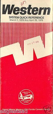 Airline Timetable - Western - 01/03/78
