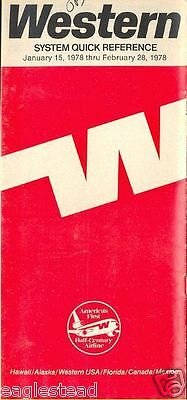 Airline Timetable - Western - 15/01/78