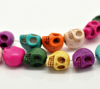 10 x 13mm Mixed Colour Turquoise Skull Beads Craft Beading ( Howlite ) V53