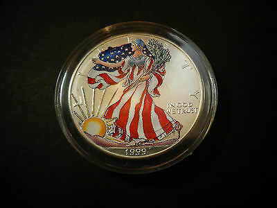1999 FULL COLORIZED  American Silver Eagle 1 Troy Oz ,1 Dollar Coin BU.999 #475