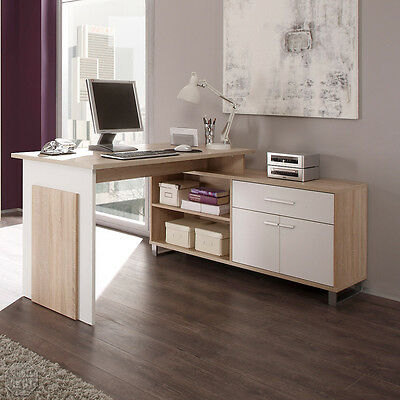 schreibtisch manager manga pc tisch computertisch sonoma eiche wei eur 159 95 picclick de. Black Bedroom Furniture Sets. Home Design Ideas