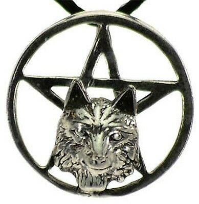 1 x WOLF HEAD PEWTER PENTAGRAM 25 mm COMES WITH A CORD Wicca Pagan Witch Goth