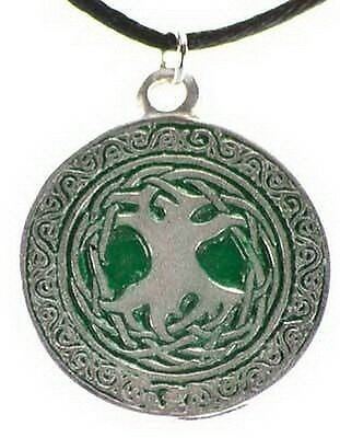 1 x GREEN TREE OF LIFE PENDANT 25 mm COMES WITH A CORD Wicca Pagan Witch Goth