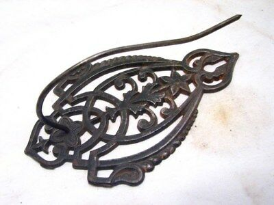 Antique Cast Iron Victorian Letter Holder Note Receipt Desk Tool Wall Mount Lyre