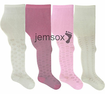 Tactel Patterned Girls Tights Various Colours 2-3, 3-4, 5-6 - 2 Pairs