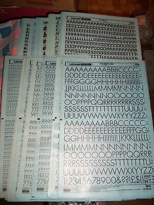 w. NOS Letraset Lettering 10 x 15 Sheet Various Fonts Sizes  Use Drop-Down Box