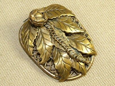 Vintage Victorian Brass Filigree Leaf & Flower Dress Clip Brooch