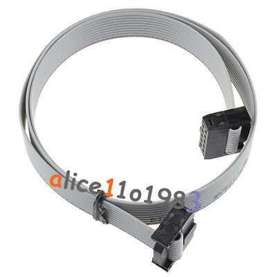70CM 10 Pin USBISP USBASP JTAG AVR Download wire 10P Ribbon Cable 2.3ft 2.54mm