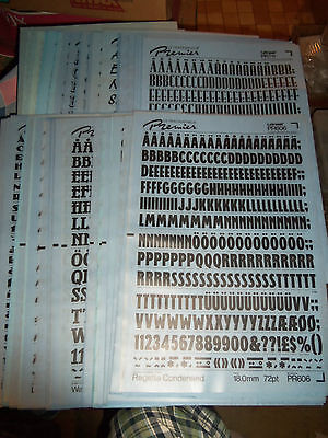 y. NOS Letraset Lettering 10 x 15 Sheet Various Fonts Sizes  Use Drop-Down Box