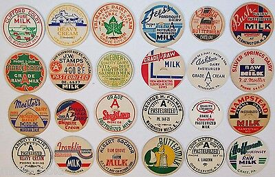 Vintage MILK BOTTLE CAPS Lot of 24 different mix number 5 unused new old stock