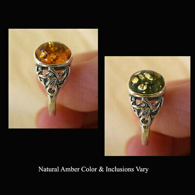 BALTIC HONEY or GREEN AMBER & STERLING SILVER HANDMADE RING