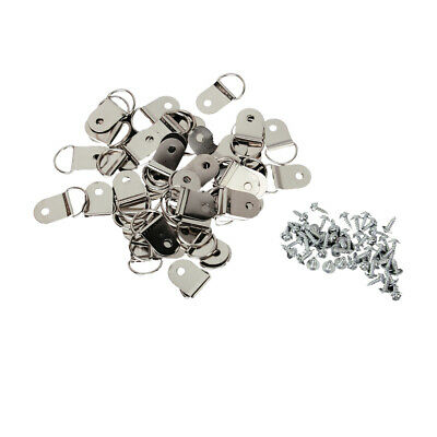50 D-Rings + Screws for Picture Framing Frame Fixings Hanging Hanger 32 x 16 mm