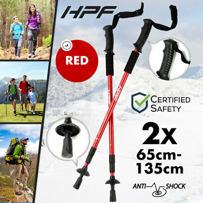 NEW 2x HPF Hiking Trekking Poles Walking Stick Anti Shock Adjustable Camping Red