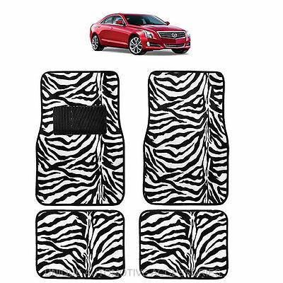 White & Black Zebra Animal Print Carpet Floor Mats 4Pc Set For Cars 1015