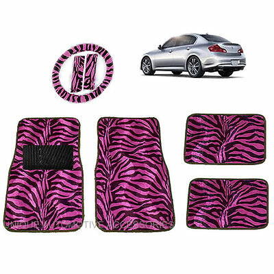 Hot Pink & Black Zebra Animal Print Carpet Floor Mats Steering Set For Cars 2013