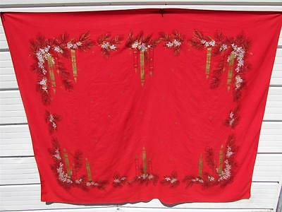 Vintage 1950's California Hand Prints Christmas Candles Tablecloth Red Gold