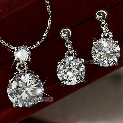 18k white gold gf made with SWAROVSKI crystal stud earrings necklace set
