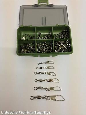 60 x AMERICAN SNAP FISHING SWIVELS 10 OF EACH SIZE 1/0 2 4 6 8 10 + TACKLE BOX