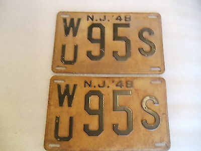1948 New Jersey State License Plates WU95S pair of 2