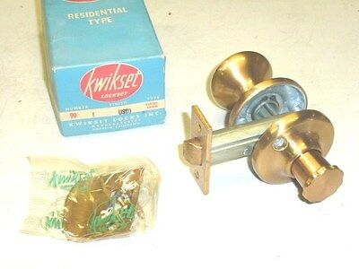 NOS! 1950 Kwikset #90 DOOR CLOSET LATCH LOCK SET Finish: US10 SATIN BRONZE • CAD $53.11